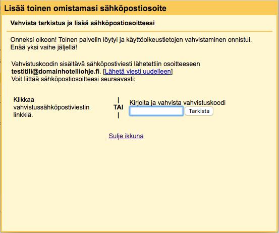 Sähköpostitilin liittäminen Gmailiin