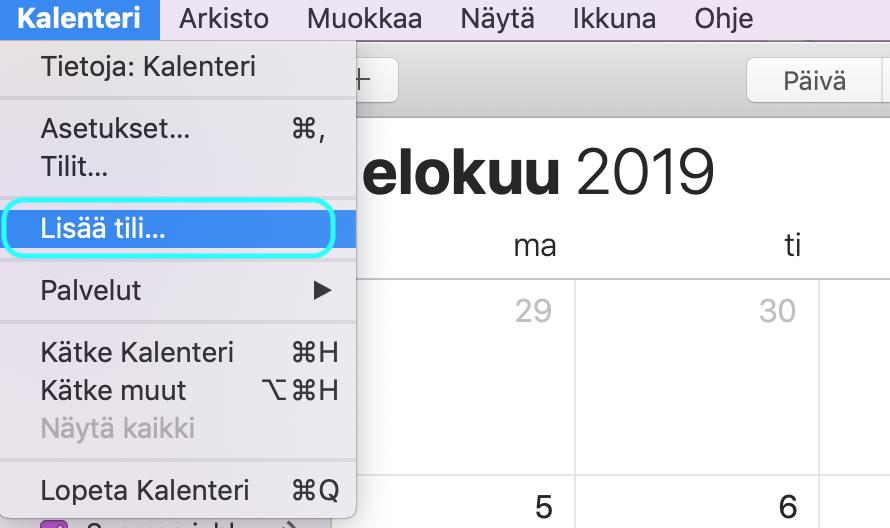 Mac kalenteri